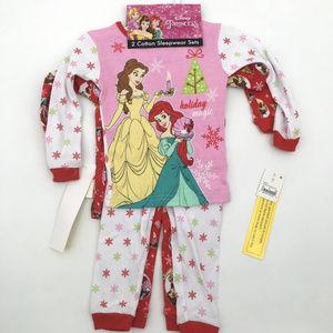 Disney Princess Christmas toddler pajama set 2T